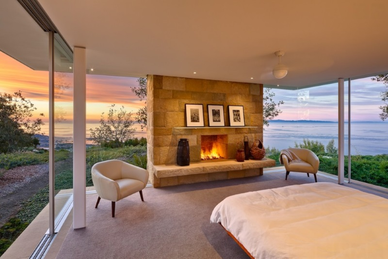 View in gallery Santa Barbara bedroom with a fireplace