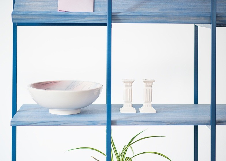Sculptural items on Anny Wang's Float shelving