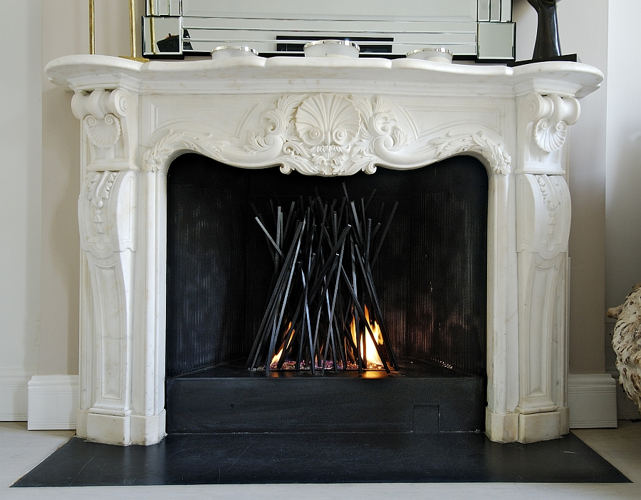 Sculptural style of the fireplace designed by Cathy Azria