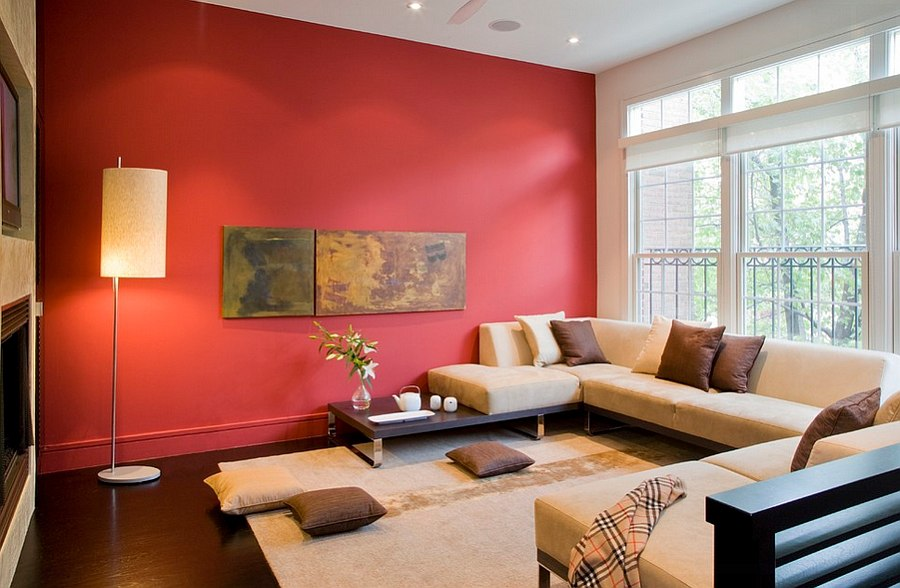 Semi-minimal living room with bold splash of red [By: FORMA Design]