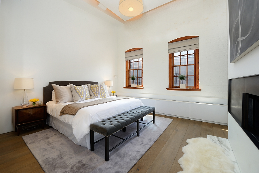 Simple and elegant bedroom with a splash of grey