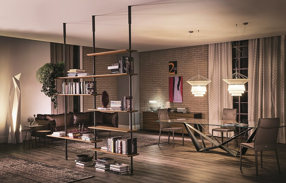 Sleek Modular wall-or ceiling-hanging bookcase from Cattelan Italia