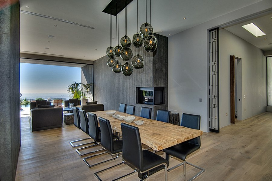 Sleek modern fireplace in the dining room corner