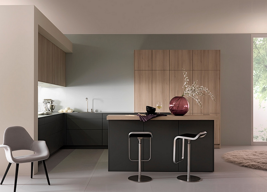 Sleek modern kitchen in black and light wood tones Innovative Contemporary Kitchen With Serene Style!