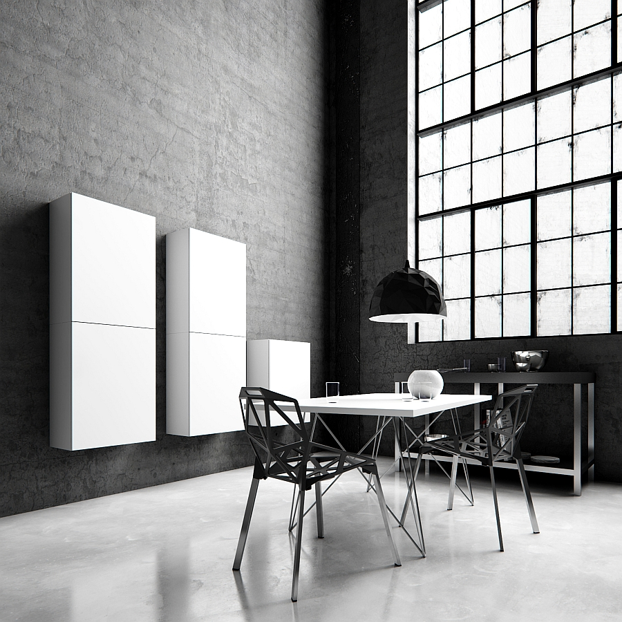 Tetrees play tetris with modular wall shelves and cabinets Study room wall cabinets
