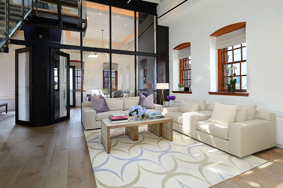 Smart living area with a rug that adds some pattern