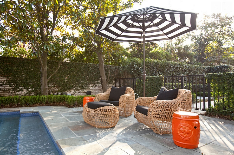 Smart patio with ceramic stools and comfy decor