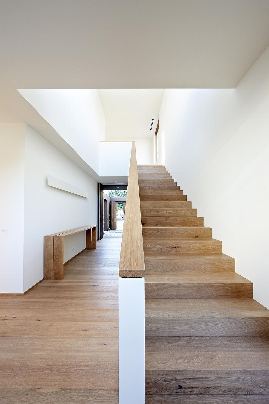 Smart staircase leading to the top level of the house