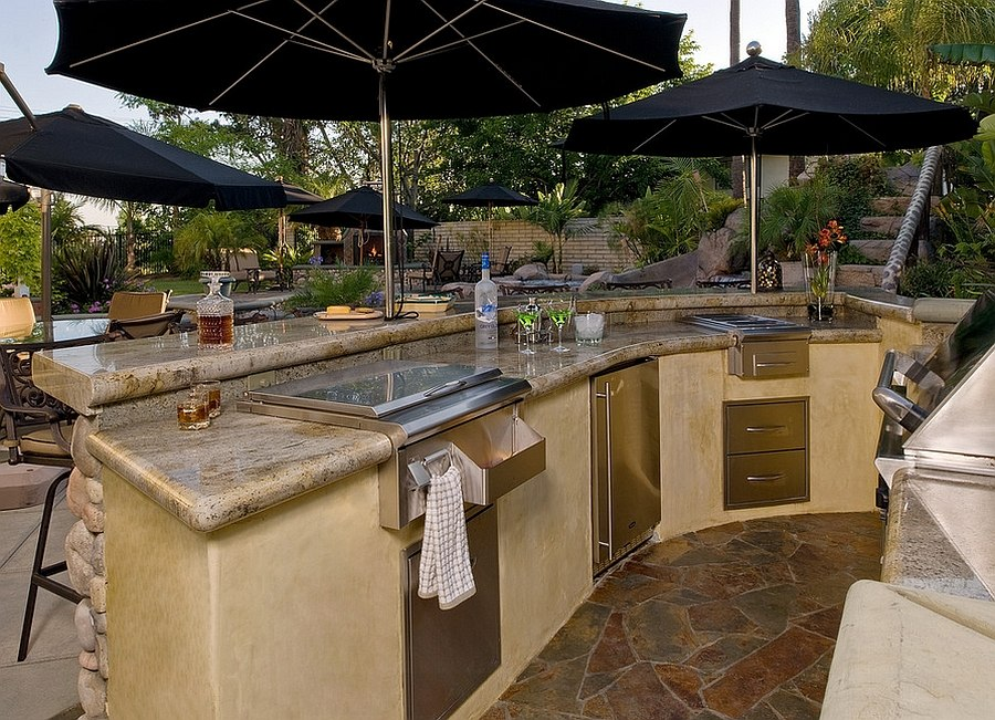 backyard kitchen designs.  Smart Use Of Umbrellas Gives The Kitchen Ample Shade From Steven Paul Whitsitt Photography Designing Perfect Outdoor Kitchen