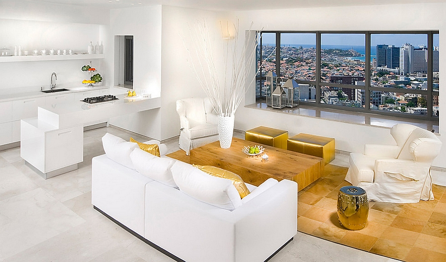 Sophisticated living room in white and gold [Elad Gonen Photographers]
