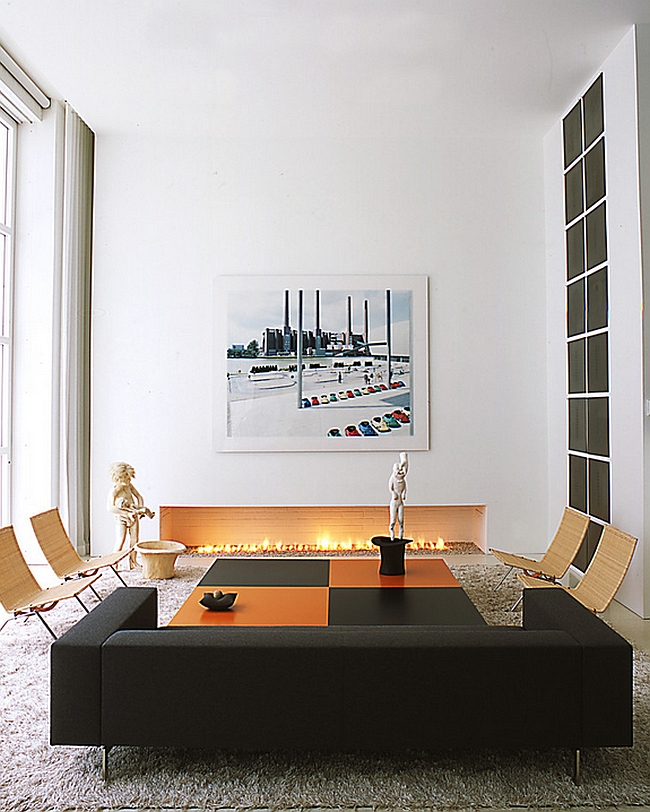 Sophisticated Living Room With Black And Orange Decor Additions By Shinberg Levinas