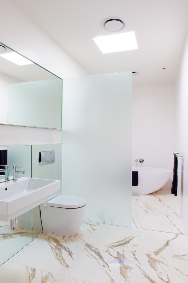 Spa-like contemporary bathroom in white