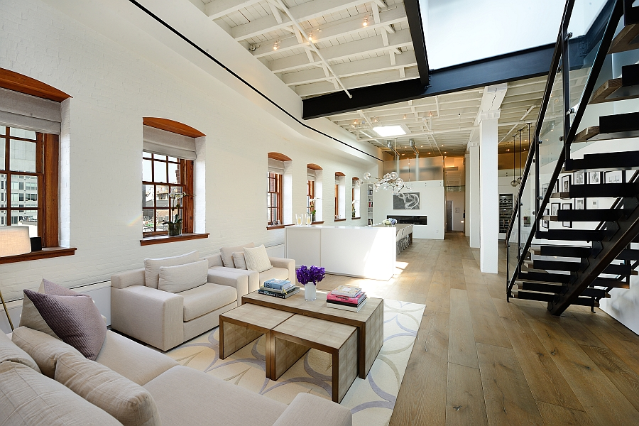 Posh penthouse loft blends timeless nyc magic with modern for Penthouse apartments in nyc