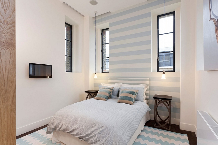 Stripes add elegance to the bedroom