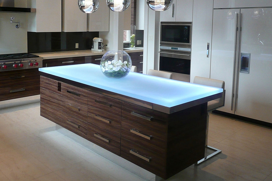 Stunning kitchen island that steals the show with its LED lighting