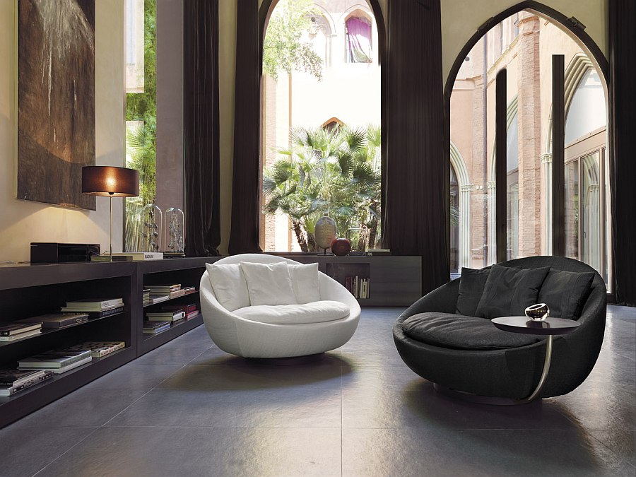 Stylish and casual Desiree Lacoon Armchair in both black and white versions