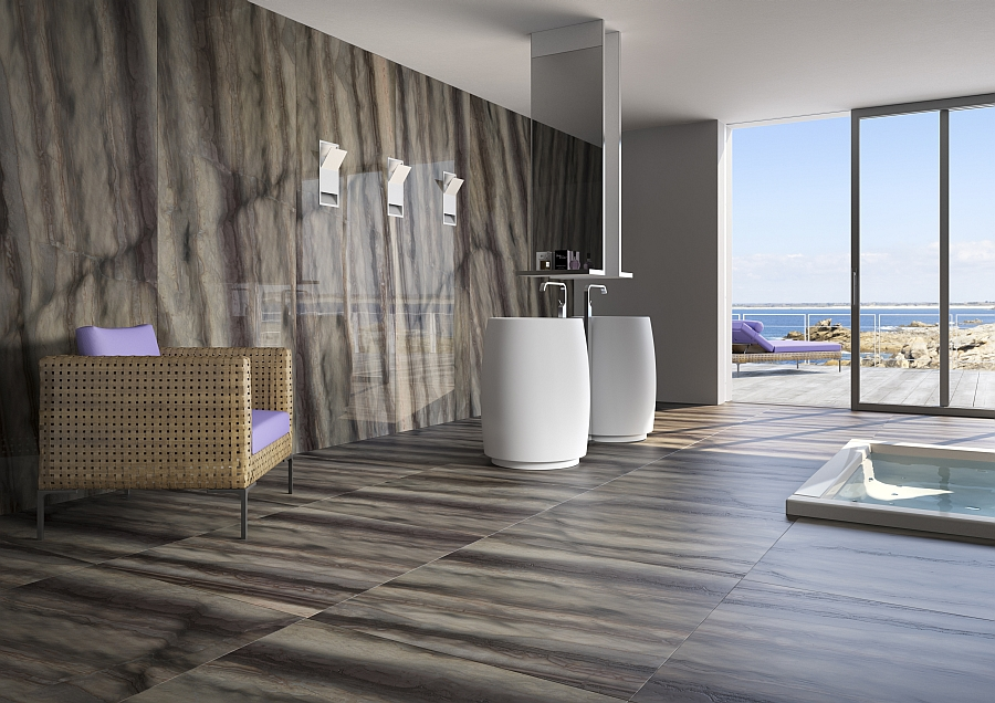 Stylish bathroom with natural stone surface in elegant brown