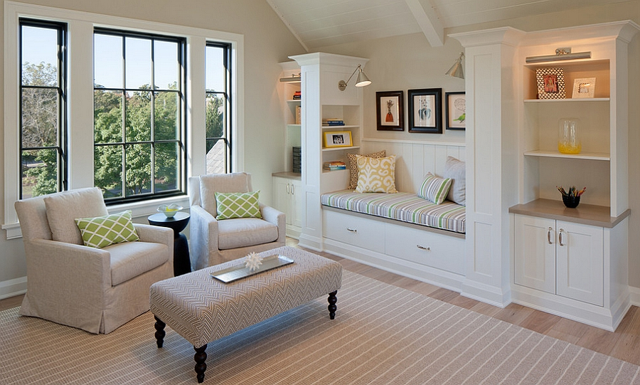Stylish family room with a cozy bench in the corner [Design: Scott Christopher Homes/Surpass Renovations]
