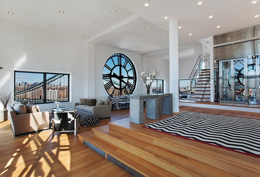 Stylish living room of the clock tower penthouse