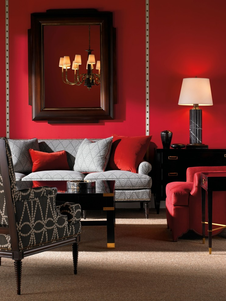 Stylish transitional living room in red [Design: American Traditions]