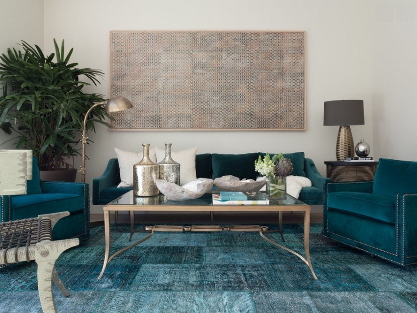 Teal blue overdyed rug in an eclectic living room Overdyed and Persian Rugs That Bring Color to Any Room