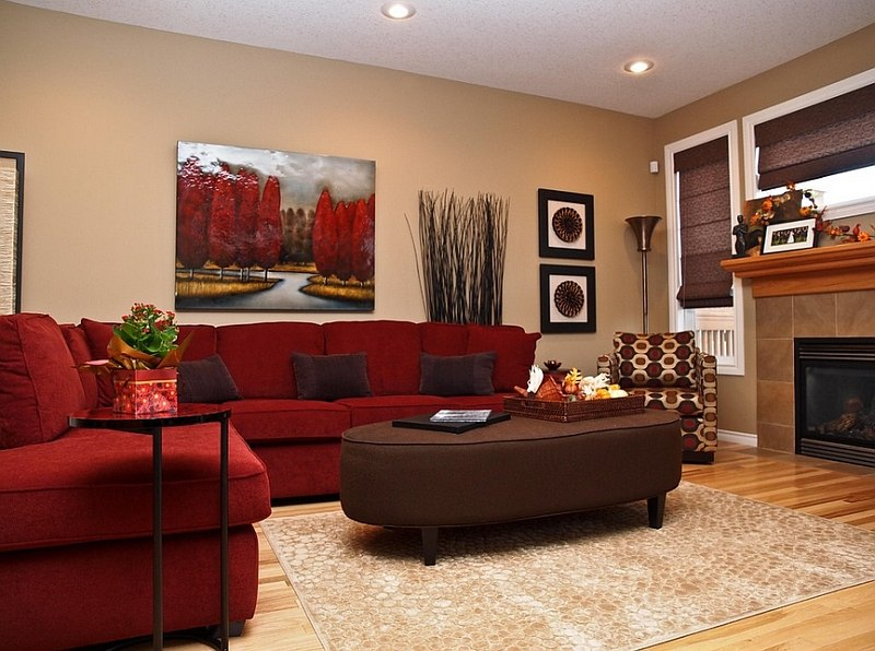 The red couch becomes an instant focal point in the room design