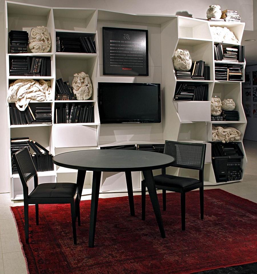 The zigzag bookshelf in the living room setting