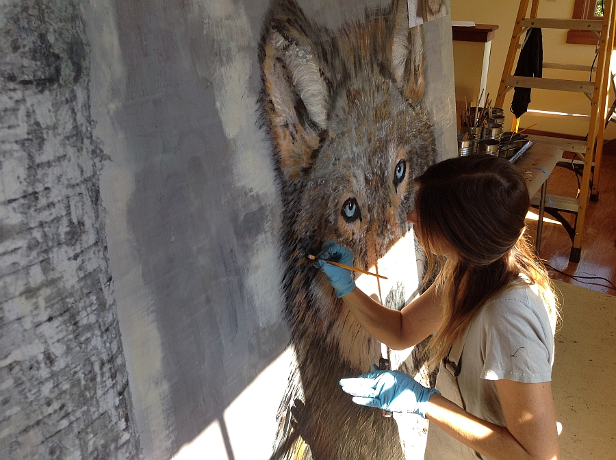 Theresa Stirling at work creating the captivating wolf art piece