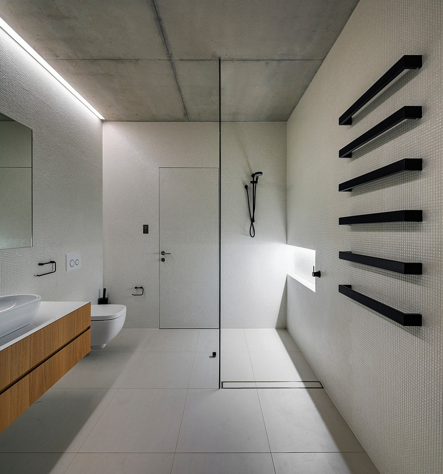 Towel rails in black add a unique visual to the space