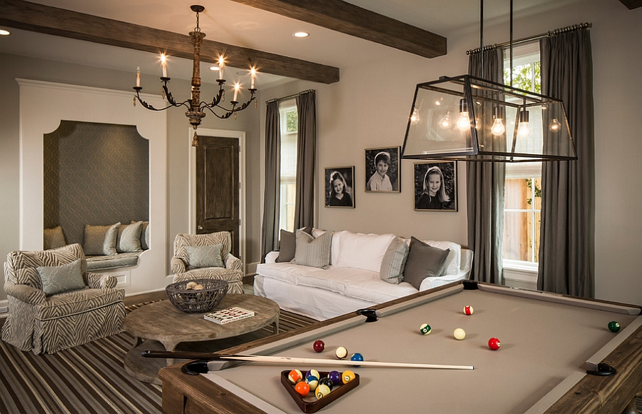 Traditional family room with a pool table [Design: Thompson Custom Homes / Photography: Steve Chenn]