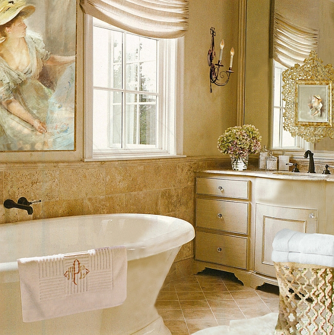 cream and brown bathroom accessories.  Traditional style feminine bathroom with a touch of gold By Adelene Keeler Smith Interior Feminine Bathrooms Ideas Decor Design Inspirations