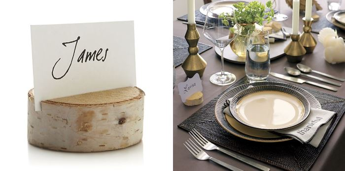 Tree stump placecard holder from CB2