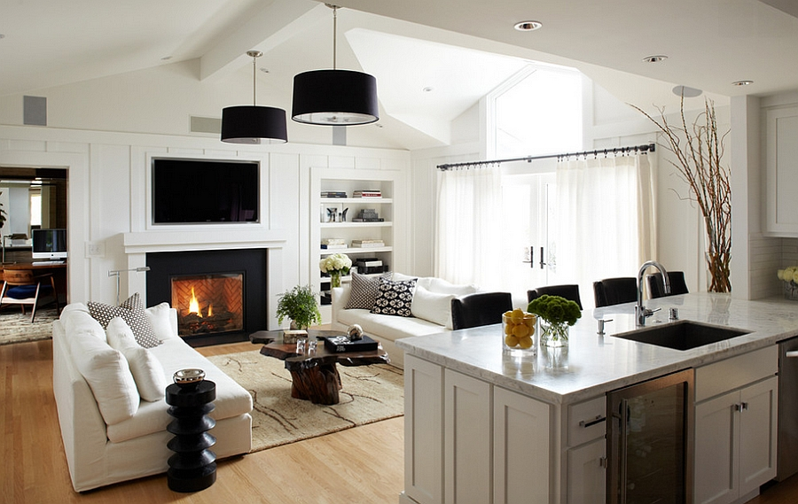Trendy contemporary family room next to the kitchen [By: Urrutia Design]