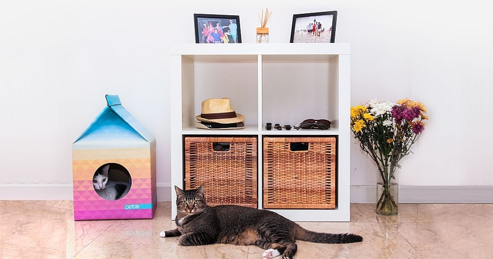 Trendy little playhouse idea for your cat Eco Friendly Pet Playhouse With Scandinavian Style!
