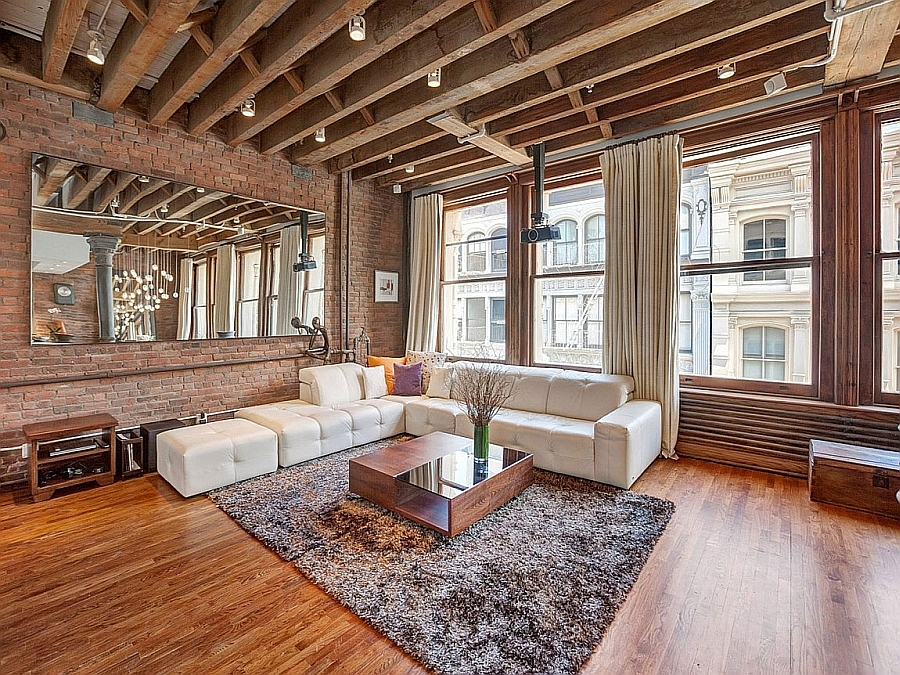 Trendy living room with industrial charm