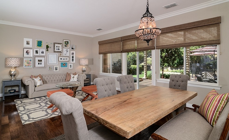 Trendy space combines the family room with dining area
