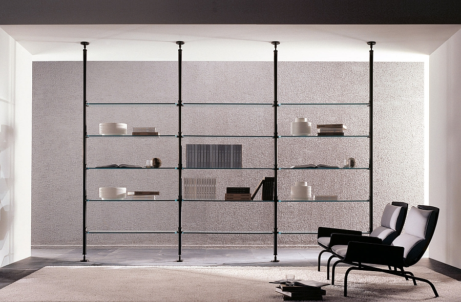Ultra thin clear glass shelves disappear into the backdrop