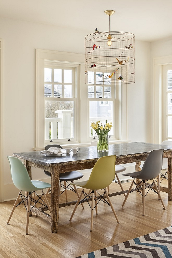 Unique birdcage pendant light in the dining room [Design: Sophie Burke Design]