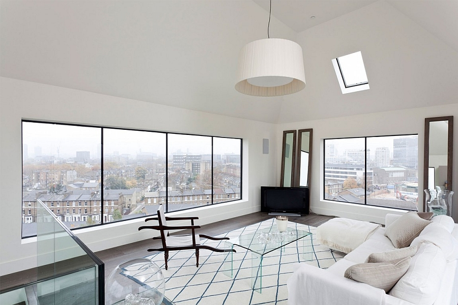 Upper living room with a view of London