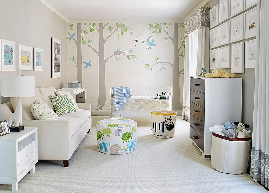 Use soothing backdrops with pops of color 15 Modern Nursery Designs With Vibrant Themes
