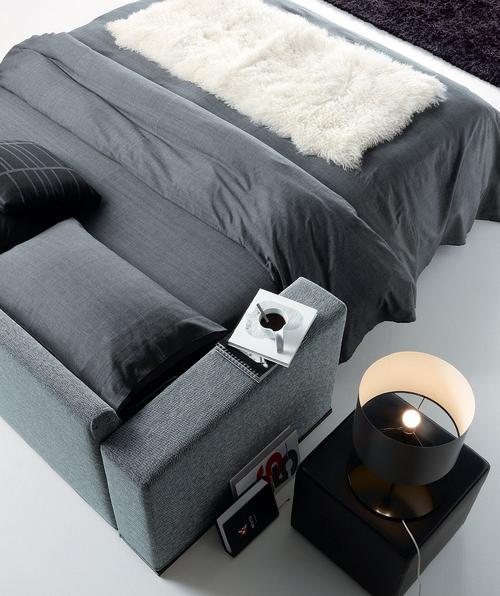Use the versatile Loen pouf as a cool nightstand