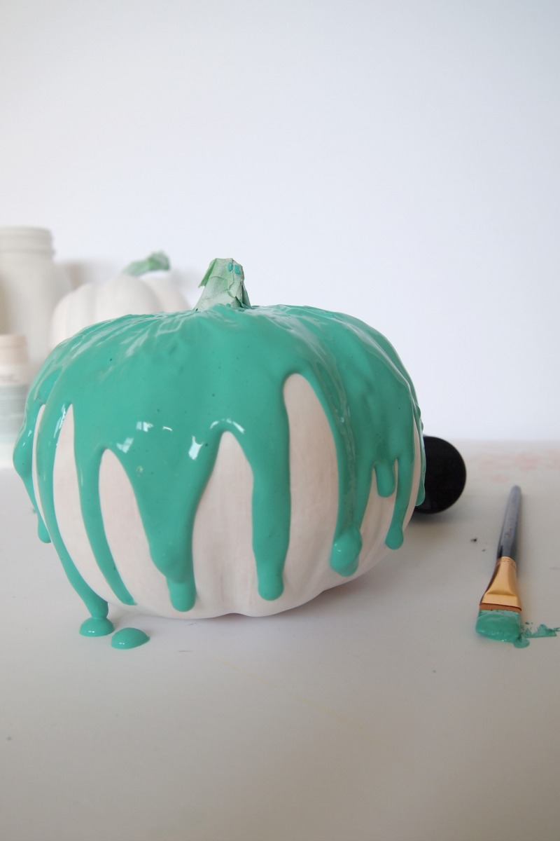 diy fun and colorful painted pumpkins
