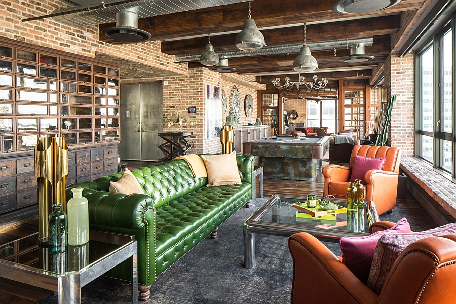 NYC Penthouse With Vintage Style And Classy Antique Collection View In  Gallery Vintage French Leather Chairs And Tufted Sofa In Green