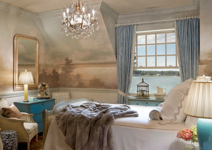 Wall mural gives the room old world charm [Design: Anne Harris Studio]