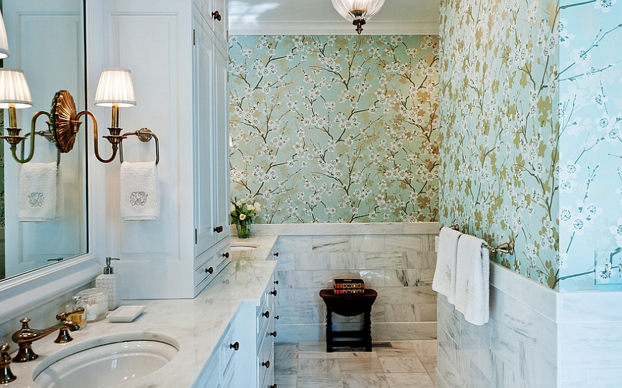 Wallpaper steals the show in this lovely master bath [Design: Leland Interiors]