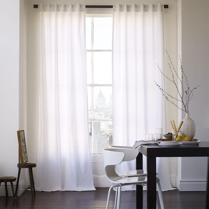 White canvas curtains from West Elm