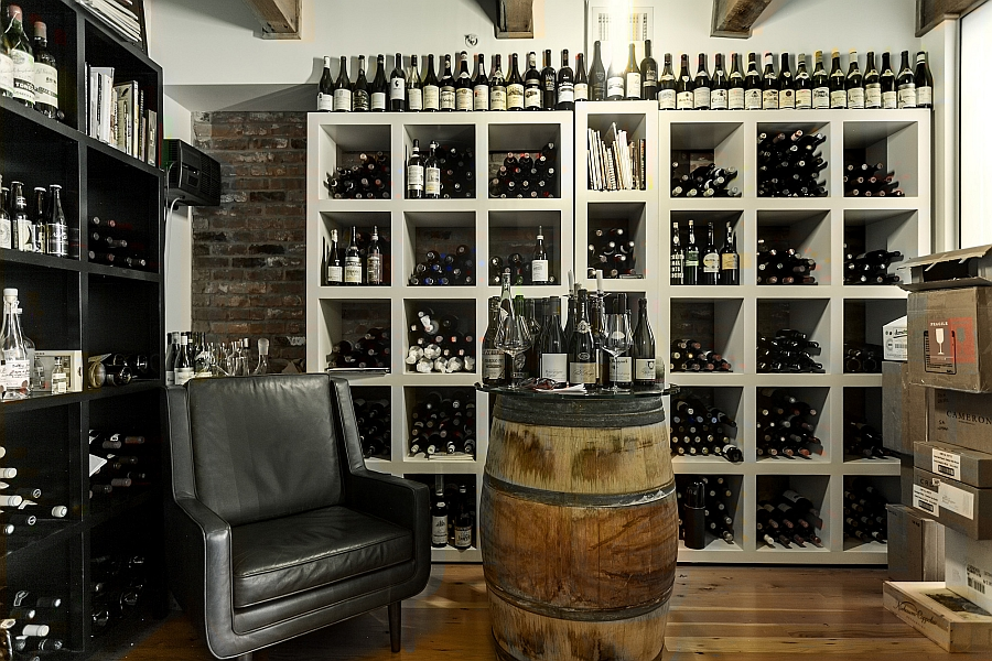 Wine storage area inside the renovated Vancouver loft