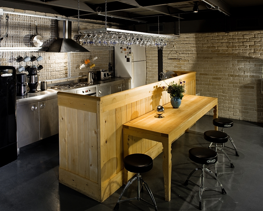 Wood, brick and metal come together in the office cafe