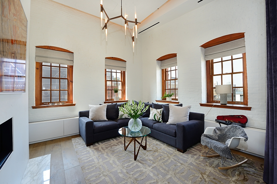 Wood framed windows add a touch of class to the interior