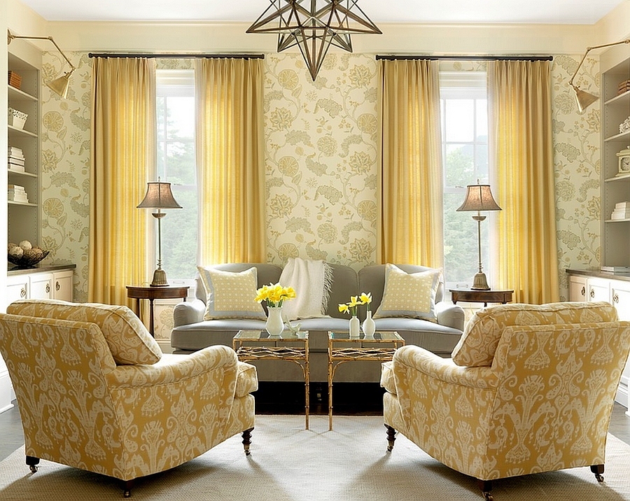 Yellow used in a tone-on tone style in the beach style living room [From: Alise O'Brien Photography]
